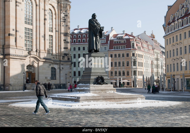 Statue of Martin Luther outside the Frauenkirche, Dresden, Germany. - Stock Image