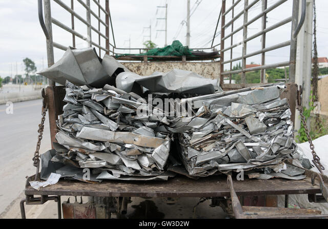 aluminum waste on the truck prepare for recycle - Stock Image