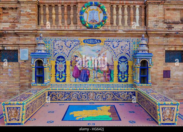Glazed tiles bench of spanish province of Coruna at Plaza de Espana, Seville, Spain - Stock Image