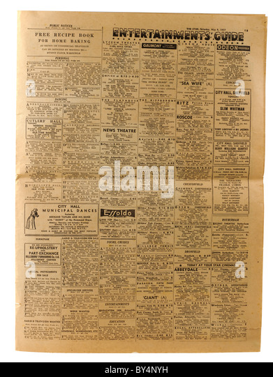 Entertainment guide from an old faded newspaper dated Saturday 4th May 1957 'The Star' from Sheffield 'south - Stock Image
