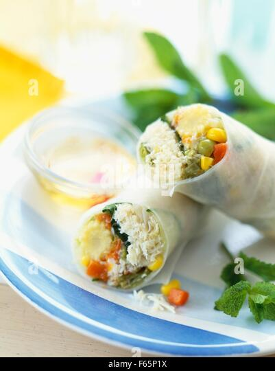 Spring roll with crab and mixed vegetables - Stock Image