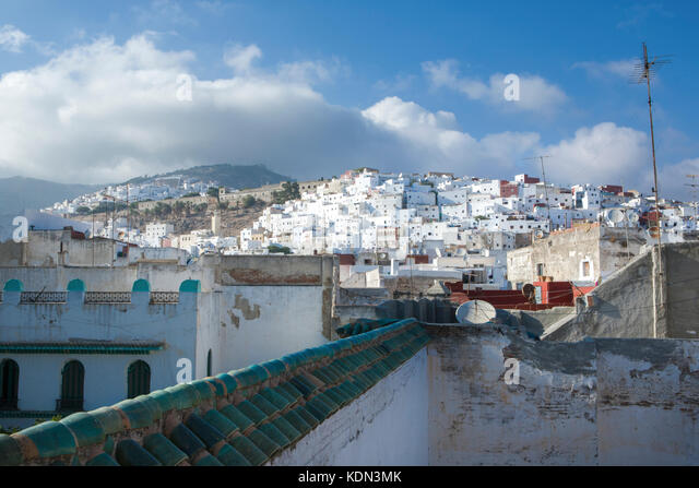 Houses on the mountain slope in royal town Tetouan near Tangier, Morocco - Stock Image