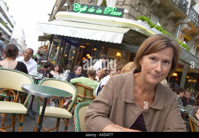 Britt Karlsson, BKWine, in a cafe in Paris Paris, France. - Stock Image