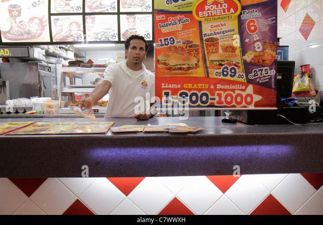 Managua Nicaragua Metrocentro shopping center centre mall fast food court Pollo Estrella chain restaurant chicken - Stock Image