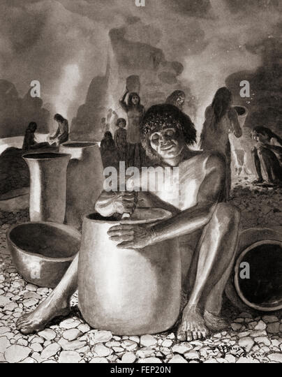 Early Egyptians making pottery. - Stock Image