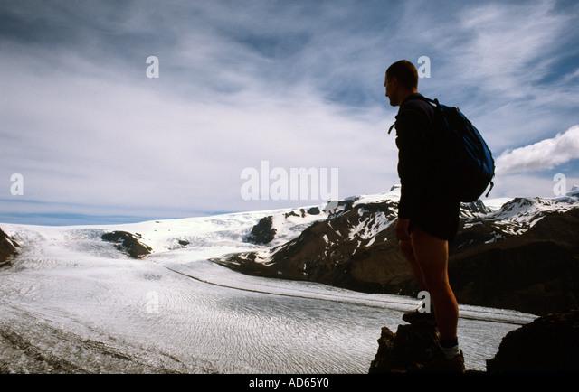 Doug Blane mountaineering in Icelend - Stock Image