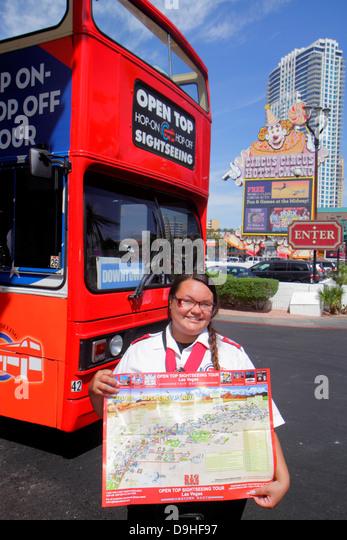 Nevada Las Vegas The Strip South Las Vegas Boulevard bus transportation coach double decker double-decker Hop On - Stock Image