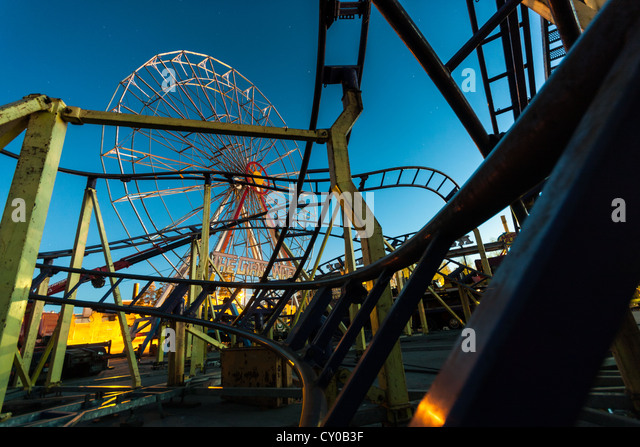 Roller coaster at night. - Stock Image