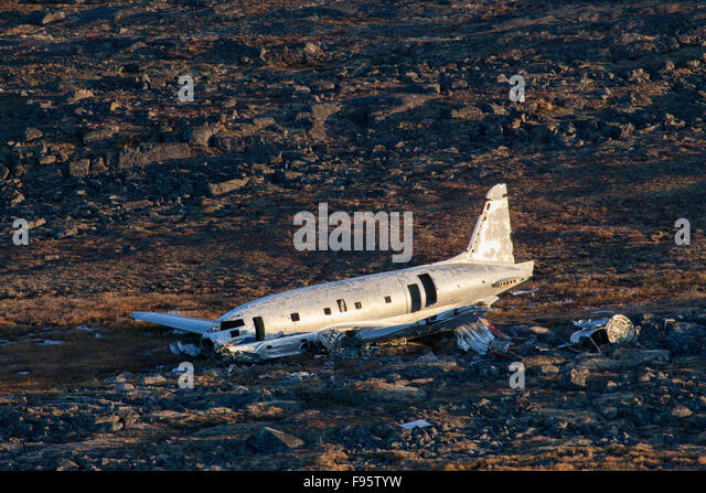 A C46 aircraft that crashed in the 1950s near Kugaaruk, Nunavut, Canada - Stock Image