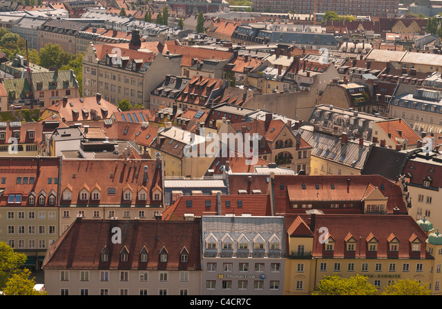 Aerial view of rooftops and dormers designed and constructed in the traditional manner in Munich, Germany - Stock Image