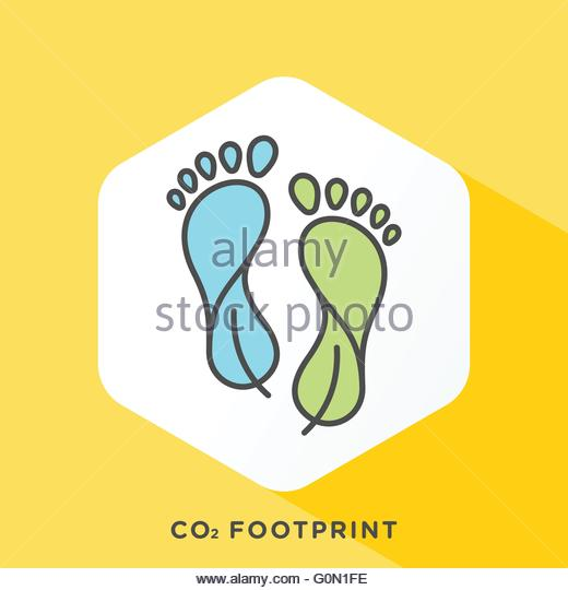 Modern style minimalistic vector illustration for carbon offsets, reducing carbon footprint. - Stock Image