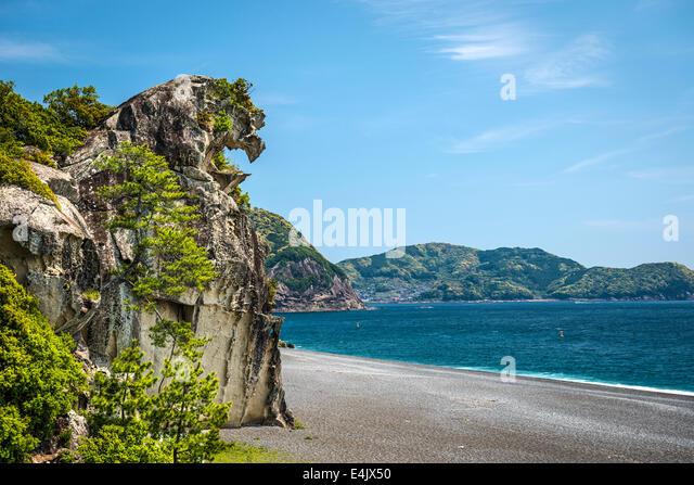 Lion rock (Shishi-iwa) in Kumano, Japan. - Stock Image