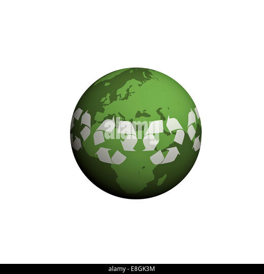 Digitally generated image of planet earth, Green world - Stock Image