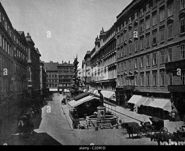 One of the first autotype prints, Graben street, historic photograph, 1884, Vienna, Austria, Europe - Stock Image