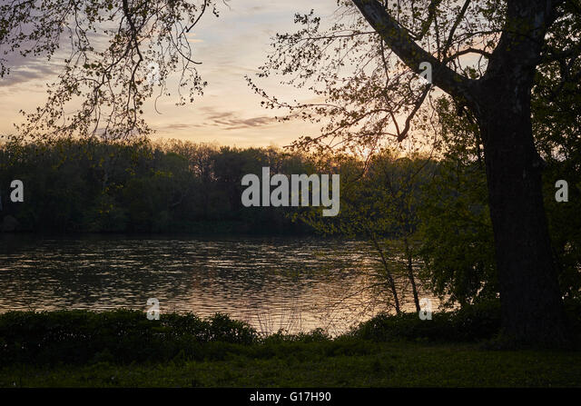sunset on the Susquehanna River at Halifax, Dauphin County, Pennsylvania, USA - Stock Image