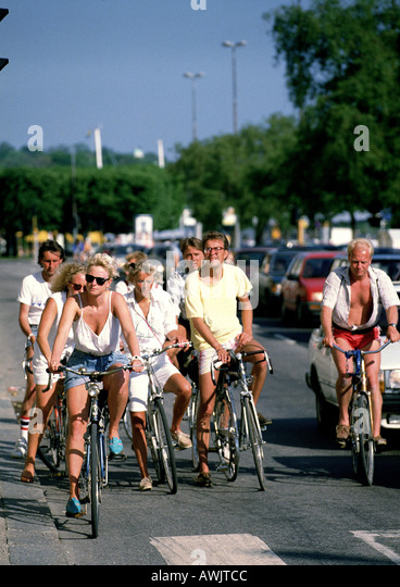 Sweden, group on bicycles - Stock Image