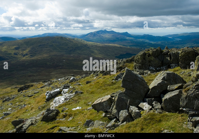 Cadair Idris from Aran Fawddwy in the Aran mountains, near Bala, Snowdonia, North Wales, UK - Stock Image
