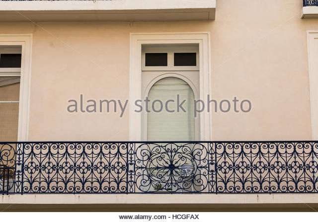 City Beziers France, residential building facade, balcony windows, architecture city, images nostalgia, house balcony - Stock-Bilder