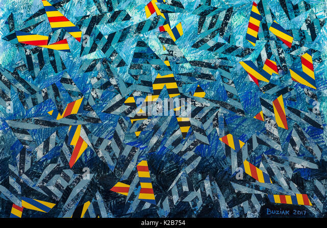 'Life Can Be a Train Wreck' - abstract artwork by Ed Buziak. - Stock Image