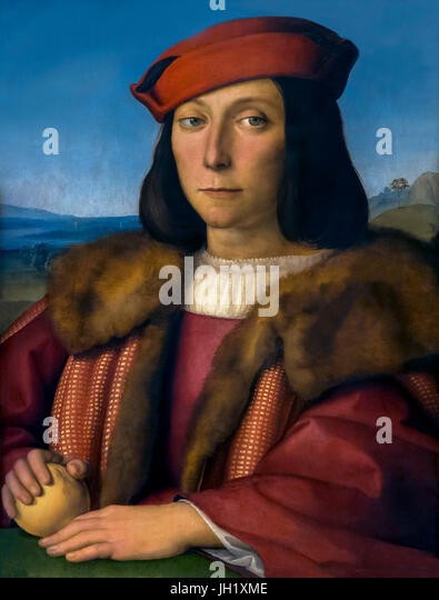 Portrait of Young Man with an Apple, by Raphael, circa 1505, Uffizi Gallery, Florence, Tuscany, Italy, Europe - Stock Image