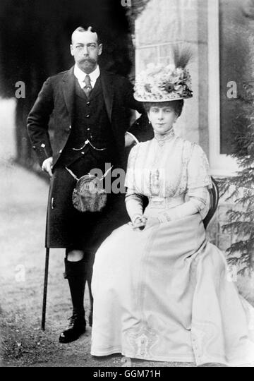 King George V (1865-1936) and his wife, Queen Mary (Mary of Teck: 1867-1953), taken when he was Prince of Wales. - Stock Image