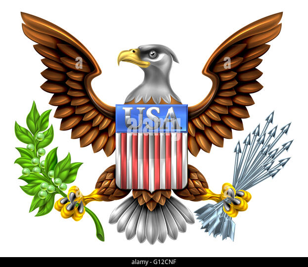 American Eagle Design with bald eagle like that found on the Great Seal of the United States holding an olive branch - Stock Image