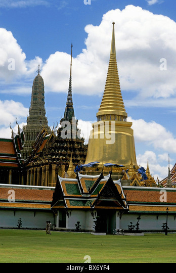 Temple of the Emerald Buddha or Wat Phra Kaew, Bangkok, Thailand. - Stock Image