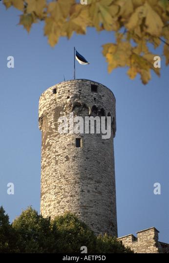 Estonia Tallin Pikk Herman Tower Medieval architecture flag - Stock Image