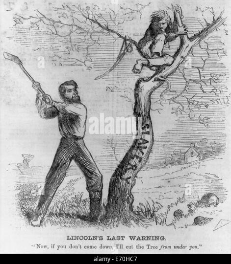 Lincoln's Last Warning - President Lincoln about to cut down tree (slavery) - warning a man to come down from - Stock Image