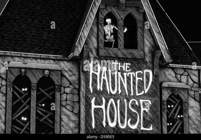 Haunted House at night. - Stock Image