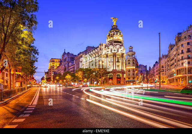 Madrid, Spain cityscape at night. - Stock Image