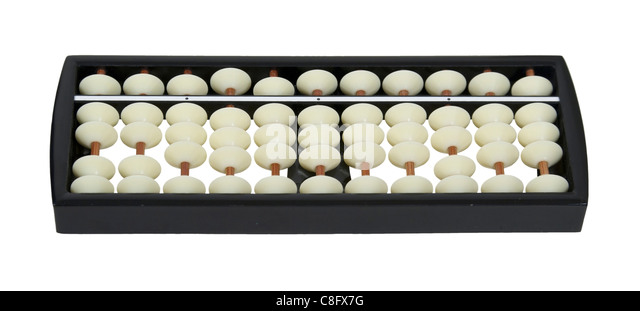 White bead abacus counting system with beads and posts - path included - Stock Image