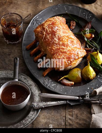 Roast pork rack with fig jam - Stock Image