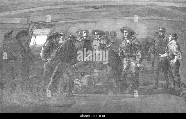 SHIPS Gunnery practice-Firing-St Jean D'Acre 1854. Illustrated London News - Stock Image