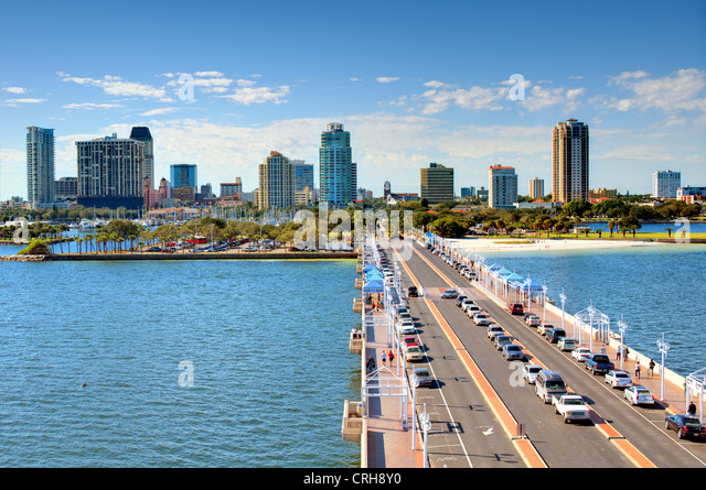 Skyline of St. Petersburg, Florida from the Pier. - Stock Image