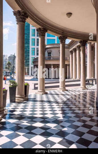 Famous Colonnade in Neoclassicism architecture of Theatre Solis in Montevideo - Stock Image