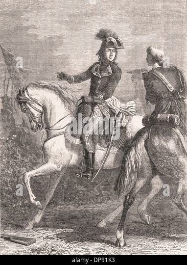 DESAIX à MARENGO - French Engraving XIX th Century - Stock Image