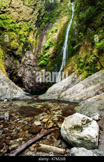 Clear pool at base of Niagara Falls - Goldstream Provincial Park - Victoria, Vancouver Island, British Columbia, - Stock Image