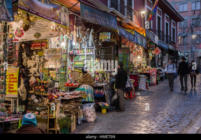 Witches Market, Calle de las Brujas, La Paz, Bolivia at dusk, popular tourist attraction and traditional medicine - Stock Image