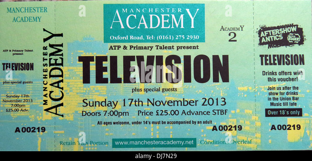 Television concert Manchester Academy 17/11/2013 Ticket - Stock Image
