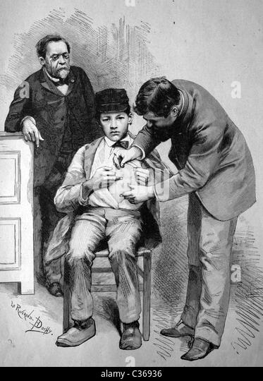 Rabies vaccination by Professor Pasteur in Paris, France historical illustration, circa 1886 - Stock Image