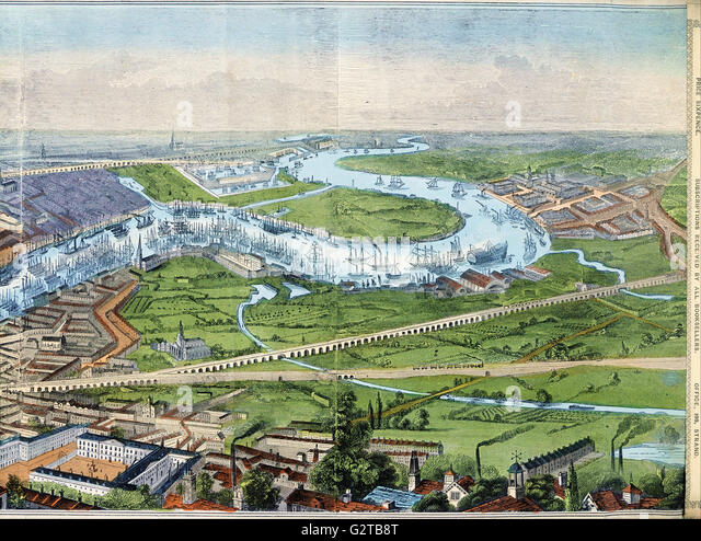 Illustrated London News - print; coloured engraving- Panorama of London and the River Thames  - - Stock Image
