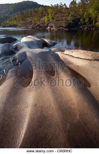 Rock formations at Reinsfoss in Nissedal, Telemark fylke, Norway. - Stock-Bilder