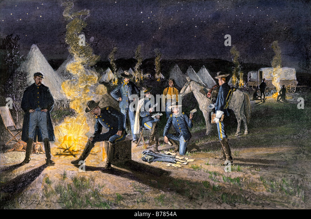 Arrival of the mail in a US Army camp in the western territory 1880s - Stock Image