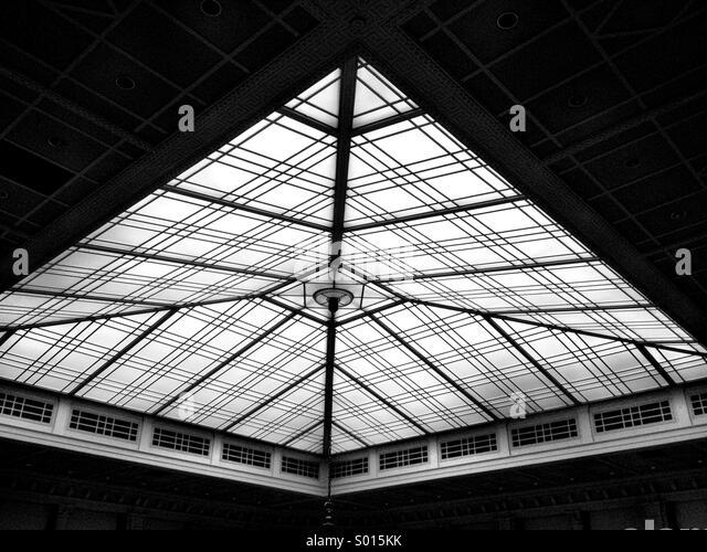 A geometric pattern on a building skylight. - Stock Image