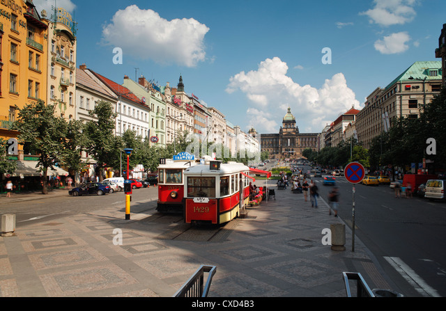 Wenceslas Square, Prague, Czech Republic, Europe - Stock Image