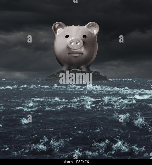 Offshore account and overseas banking concept as a tax haven symbol as a piggy bank on an island surounded by a - Stock-Bilder