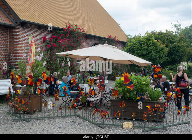 Weekend handicraft and produce market at Gut Goertz estate in East Holstein, Germany - Stock Image