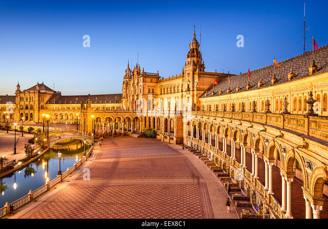 Seville, Spain at Spanish Square (Plaza de Espana). - Stock-Bilder