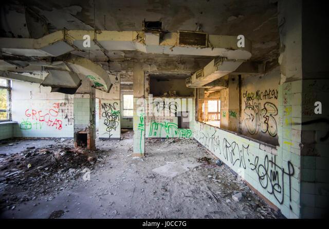 Inn Nadarzyn - pictures taken in August 2016 - a building demolished in October 2016 - Stock Image